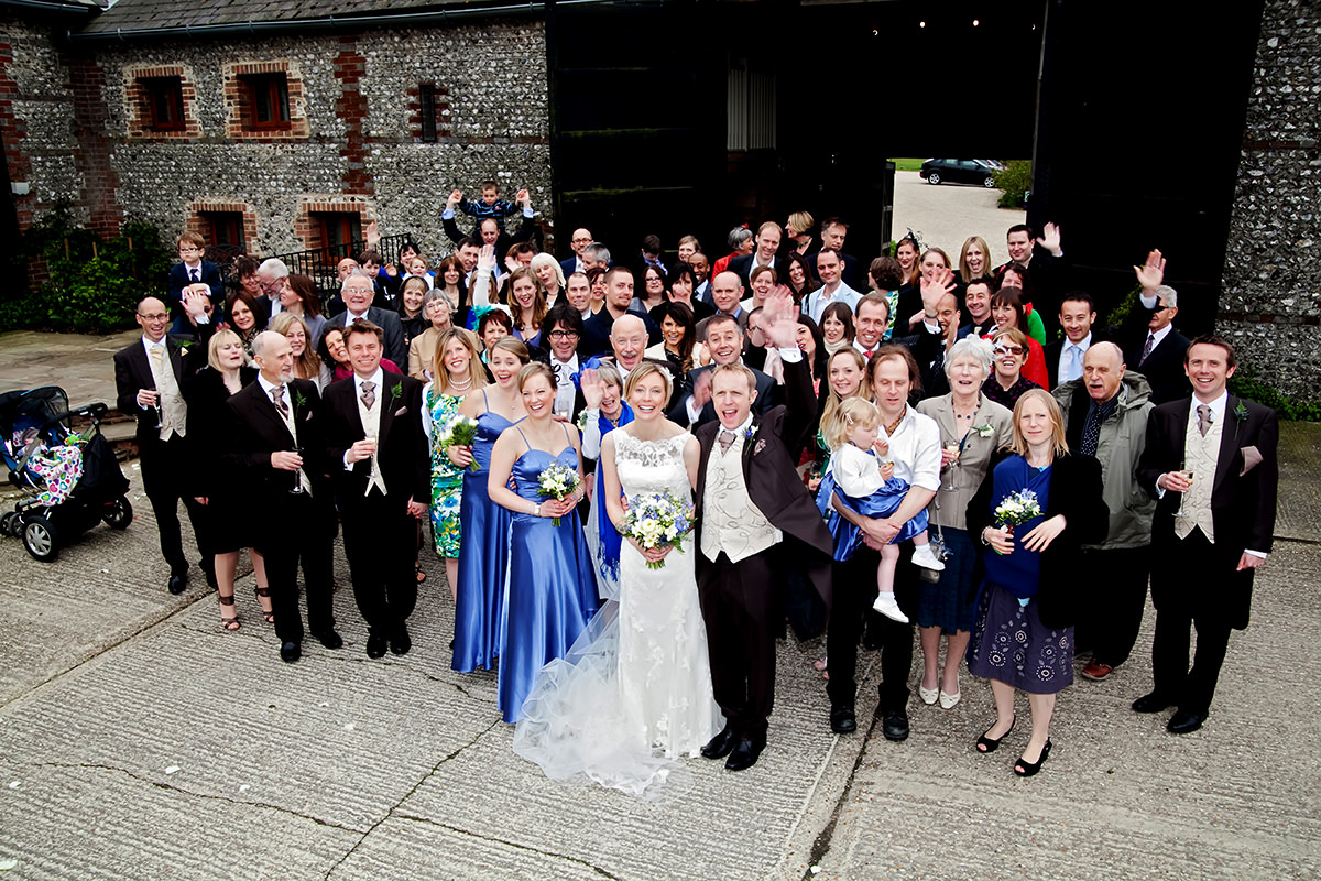 a group shot of everyone at an Upwaltham Barns wedding