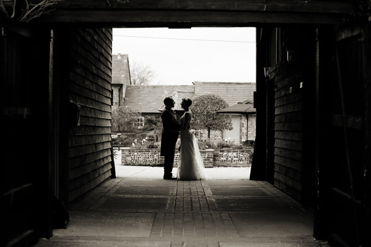 the bride & groom at Upwaltham Barns