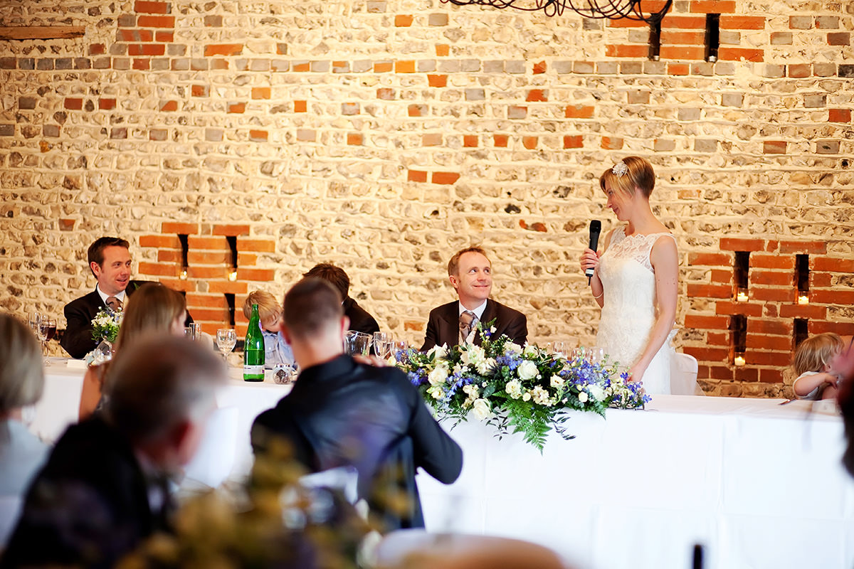 the bride giving a speech at Upwaltham Barns
