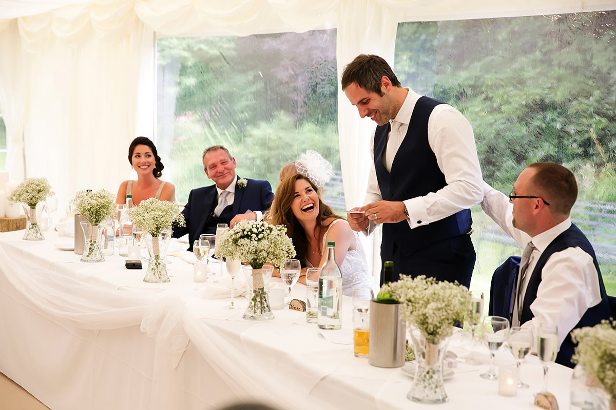 the groom's speech at a Findon Manor wedding