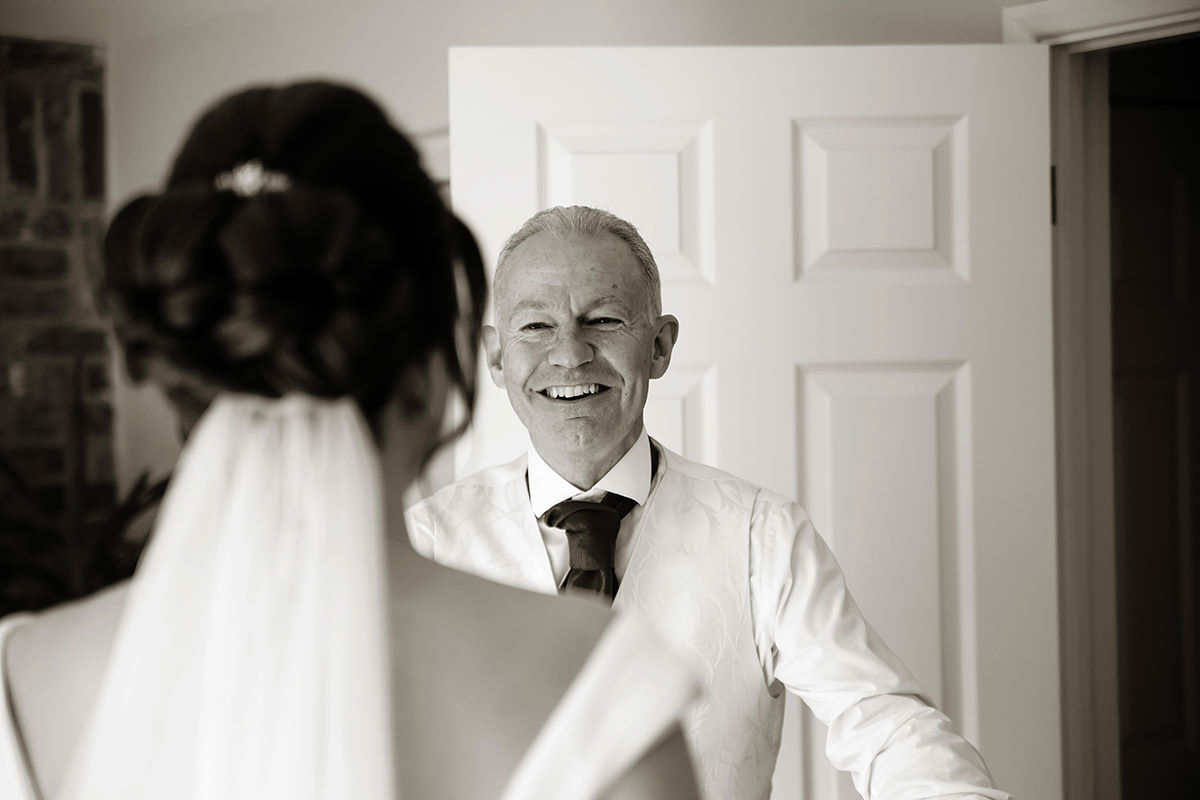 a father's emotional response to seeing the bride in her wedding dress before he walks her down the aisle