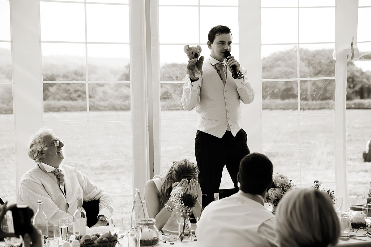 the groom's speech at a wedding in Sussex