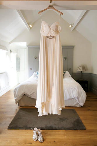 a beautiful wedding dress in the bridal suite at a Sussex wedding