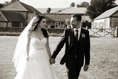 the bride & groom walk together