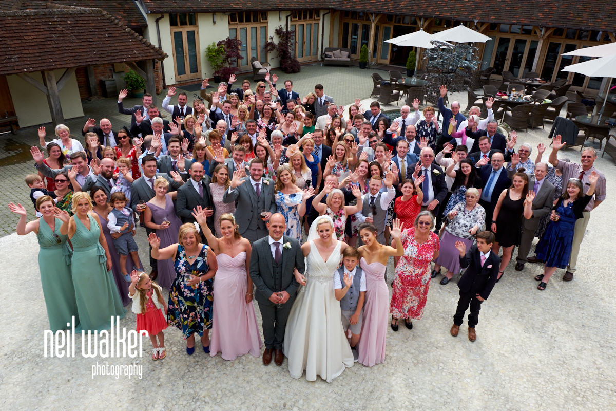 a huge group shot of the whole wedding