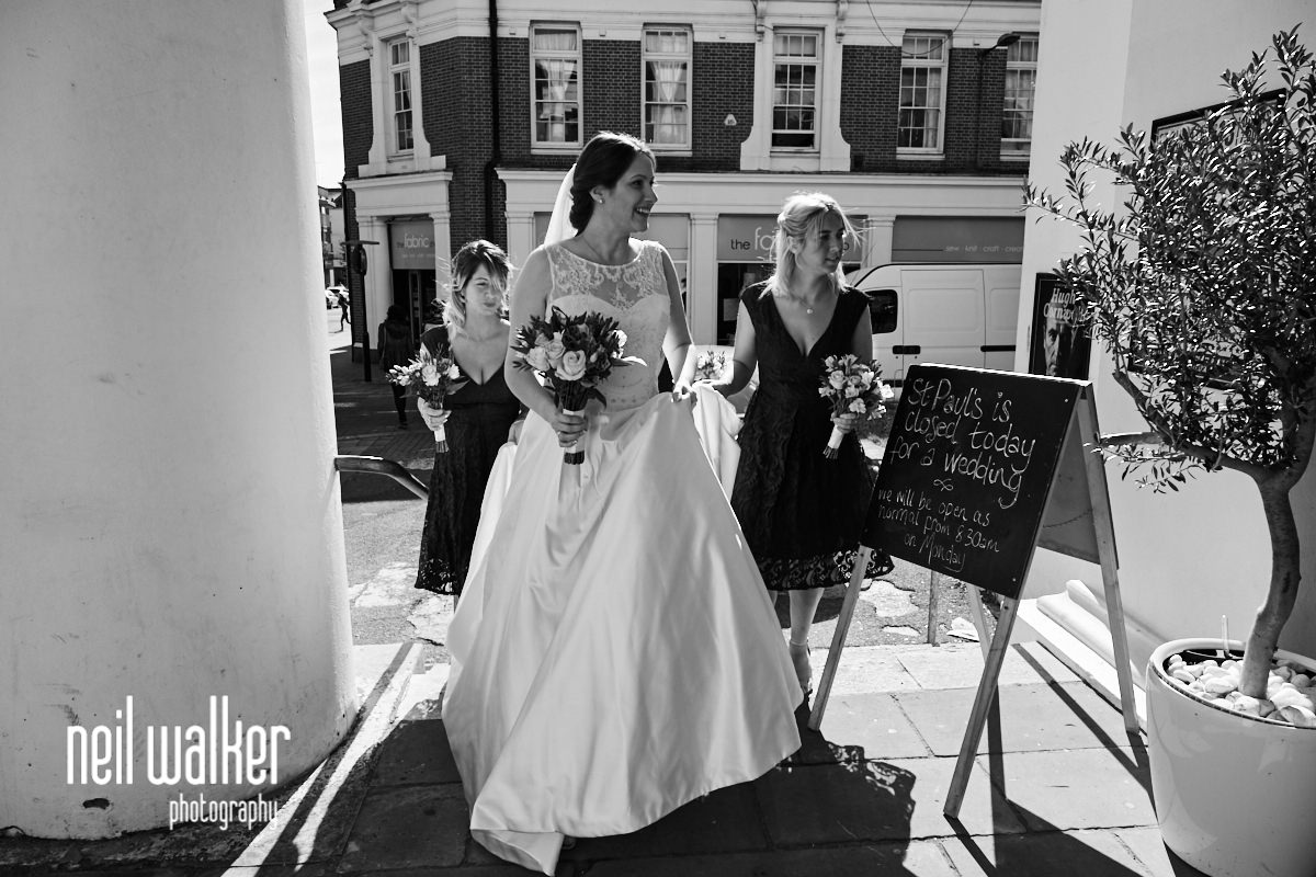 the bride walking into St Paul's Worthing