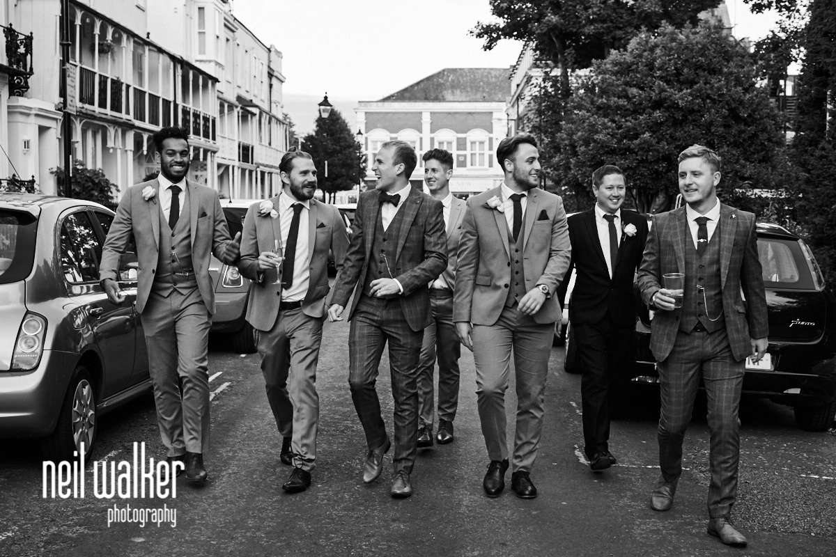 all the groomsmen walking