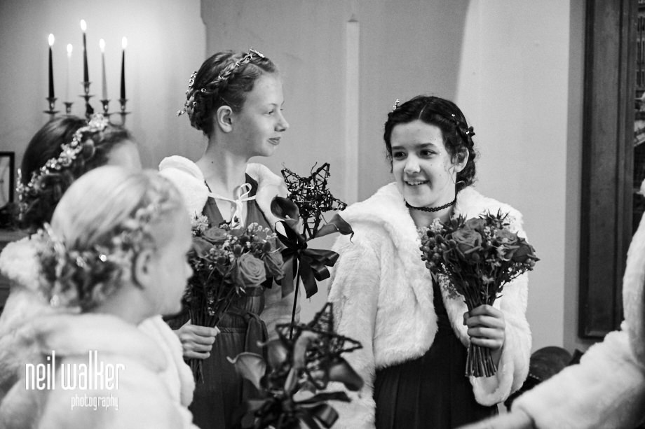 the bridesmaids waiting for the wedding ceremony to begin