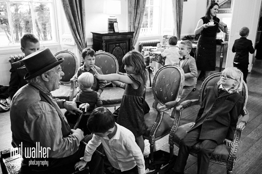 children at a Castle Goring wedding running around the State Rooms
