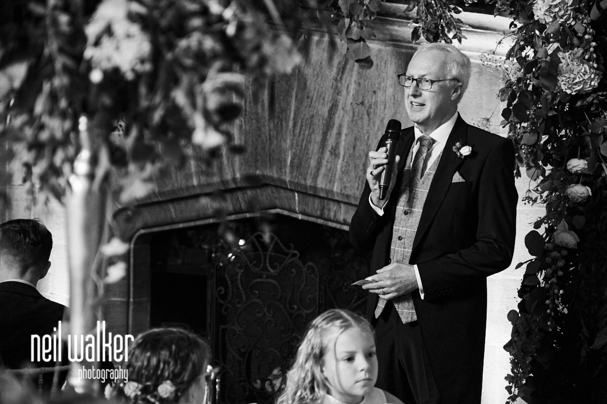 the father of the bride starting his wedding speech