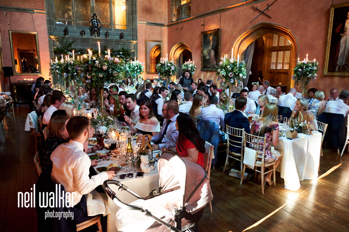 guests enjoying the wedding breakfast at a Cowdray House wedding