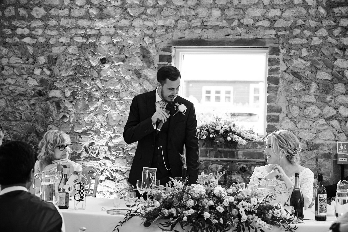the groom's speech at his Sussex wedding