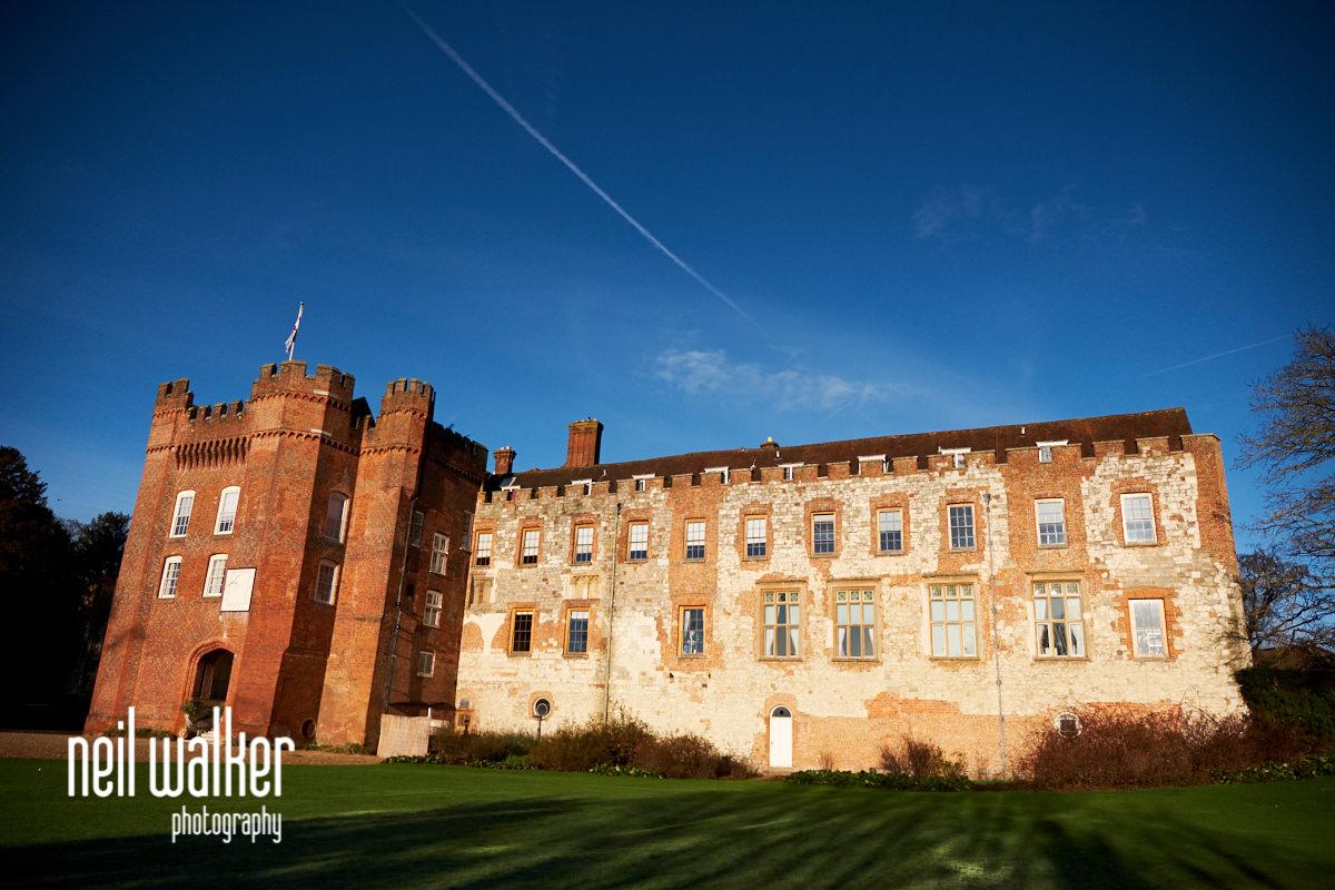 Farnham Castle exterior with blue sky