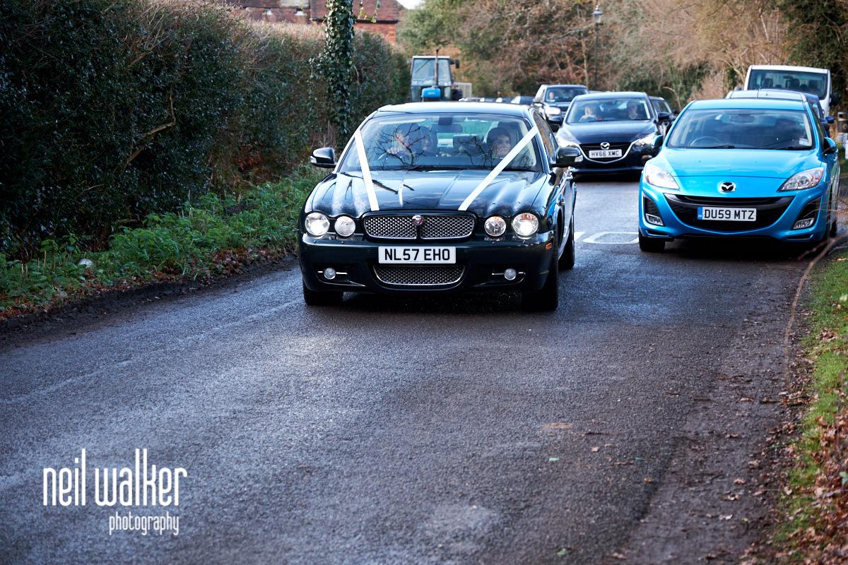 the bride's car arriving
