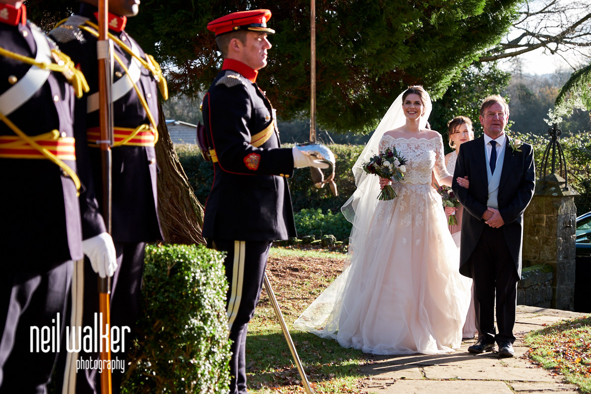 the bride walking towards the Lance Guard