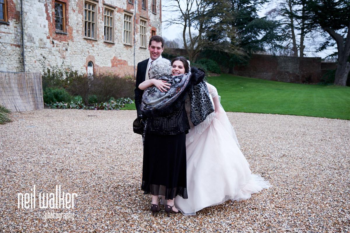 the bride hugging her grandmother
