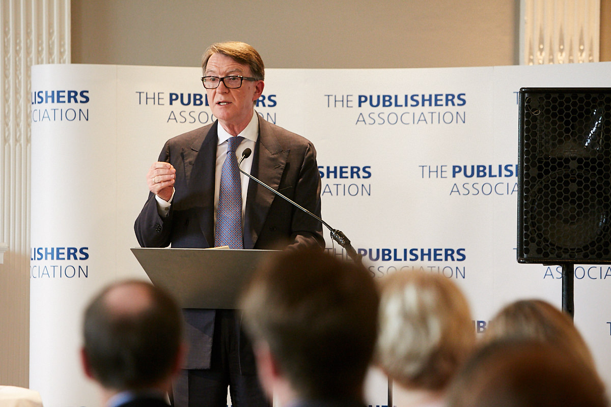 Peter Mandelson talking at the Publishers Association AGM