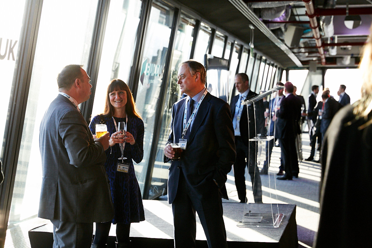 Guests talking at a Build UK event at 42 Leadenhall