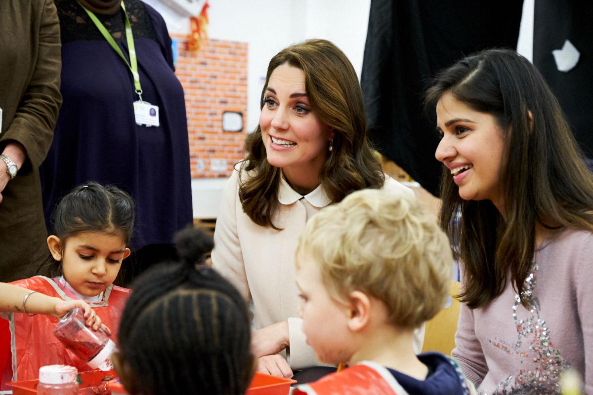 The Duchess of Cambridge talking to children