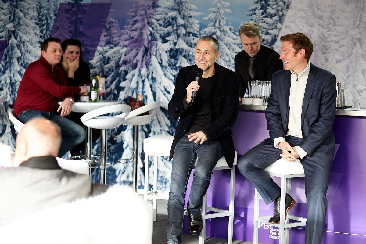 Michel Roux Jr talking at a Starwood event