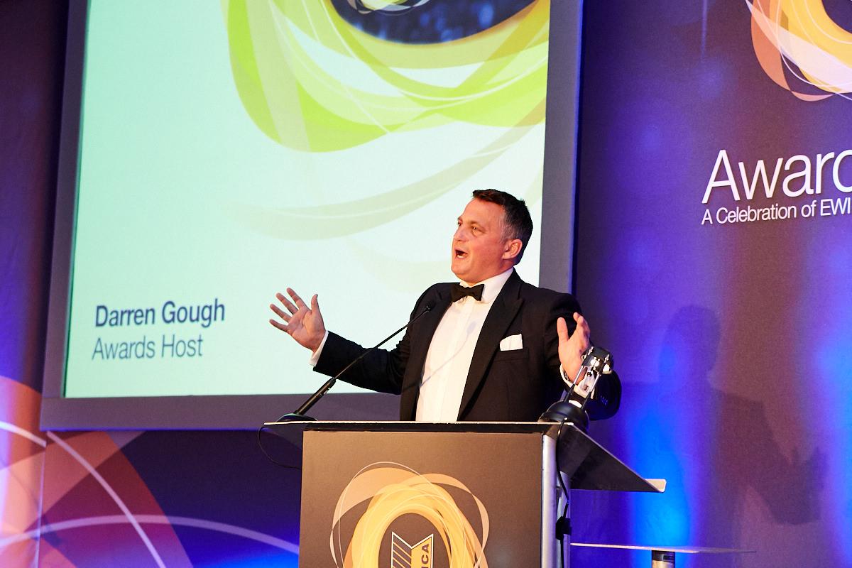 Darren Gough talking at a London event