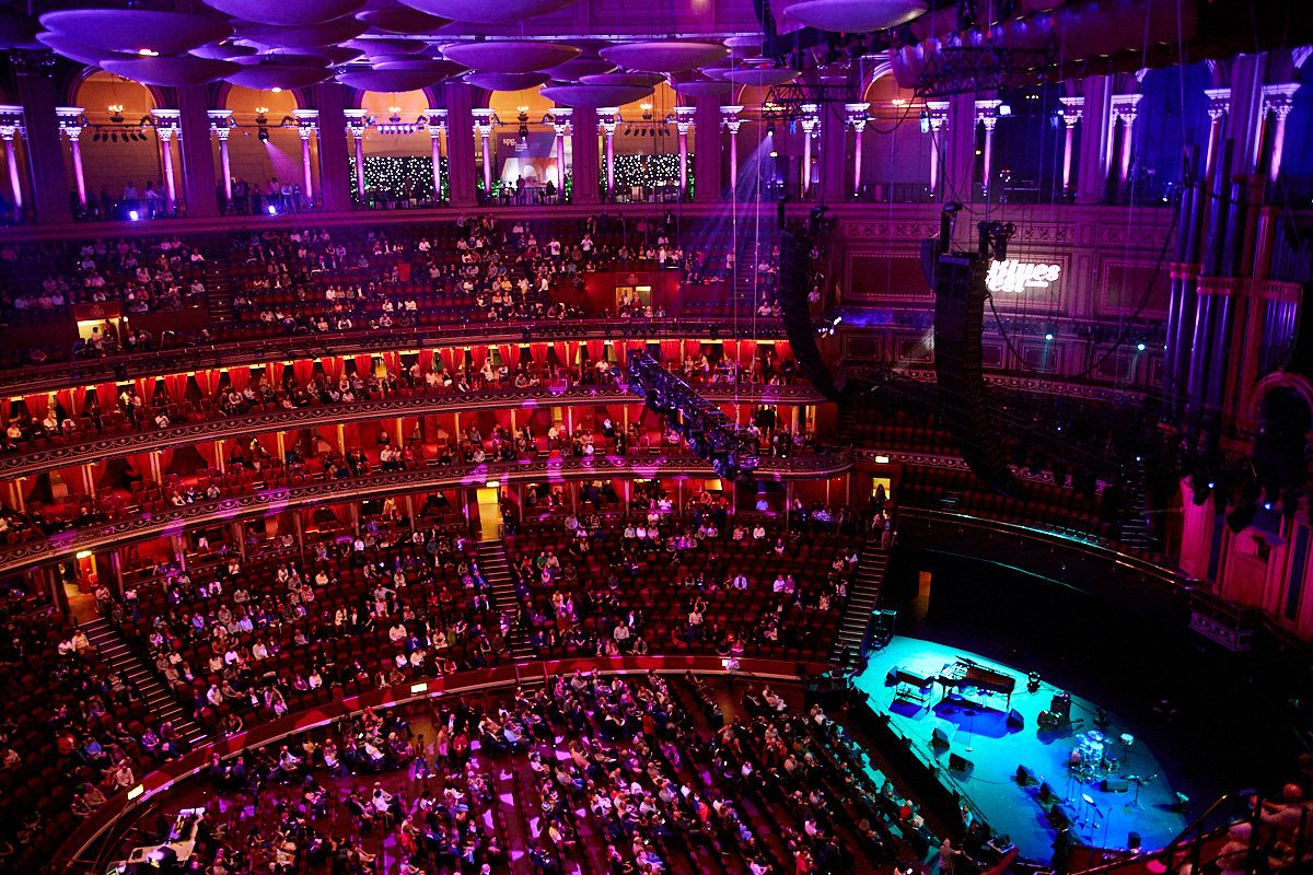 The interior of The Royal Albert Hall from a high balcony