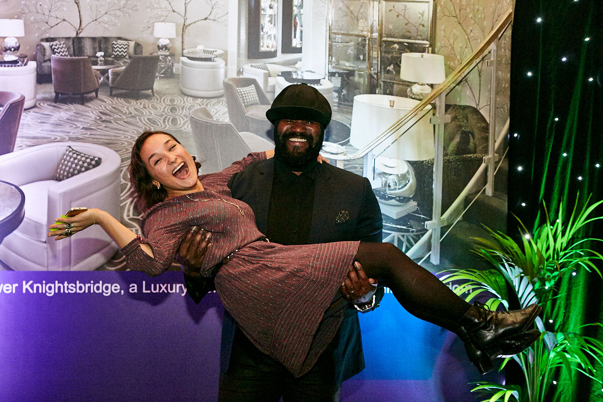 Gregory Porter with a guest at a concert at The Royal Albert Hall