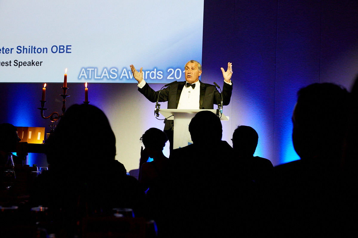 Peter Shilton OBE speaking at an award ceremony at The Royal Horseguards Hotel in London