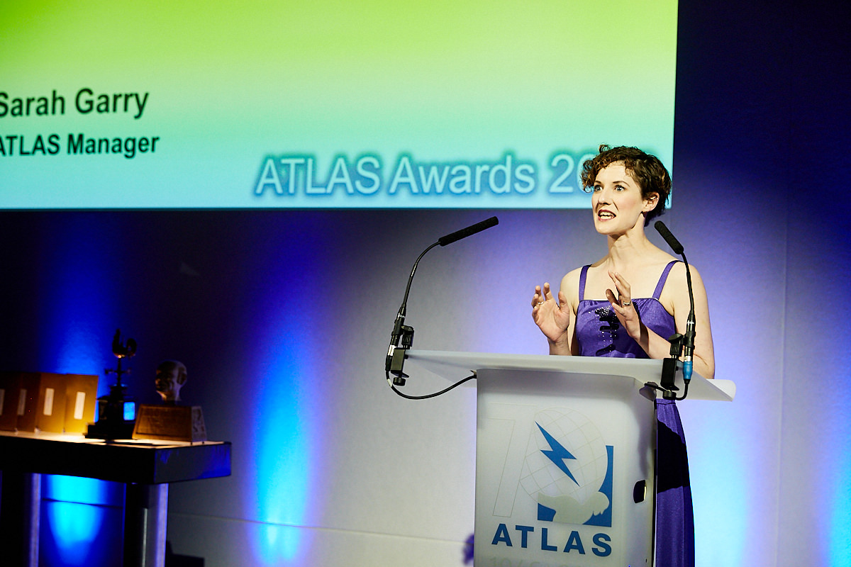 A speaker at the ATLAS awards ceremony at The Royal Horseguards Hotel