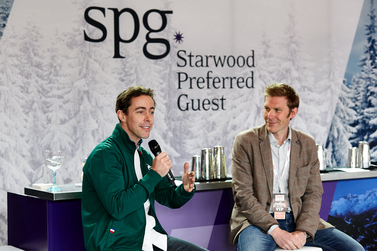 a celebrity chef being interviewed at a Starwood event at Tobacco Dock