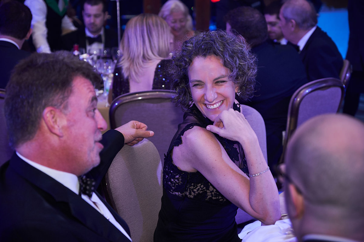 guests laughing at an event