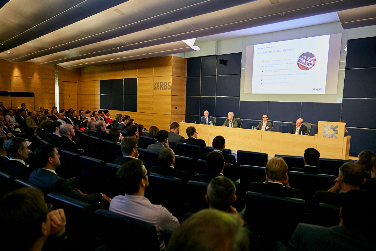a panel of speakers at a RBS event in London