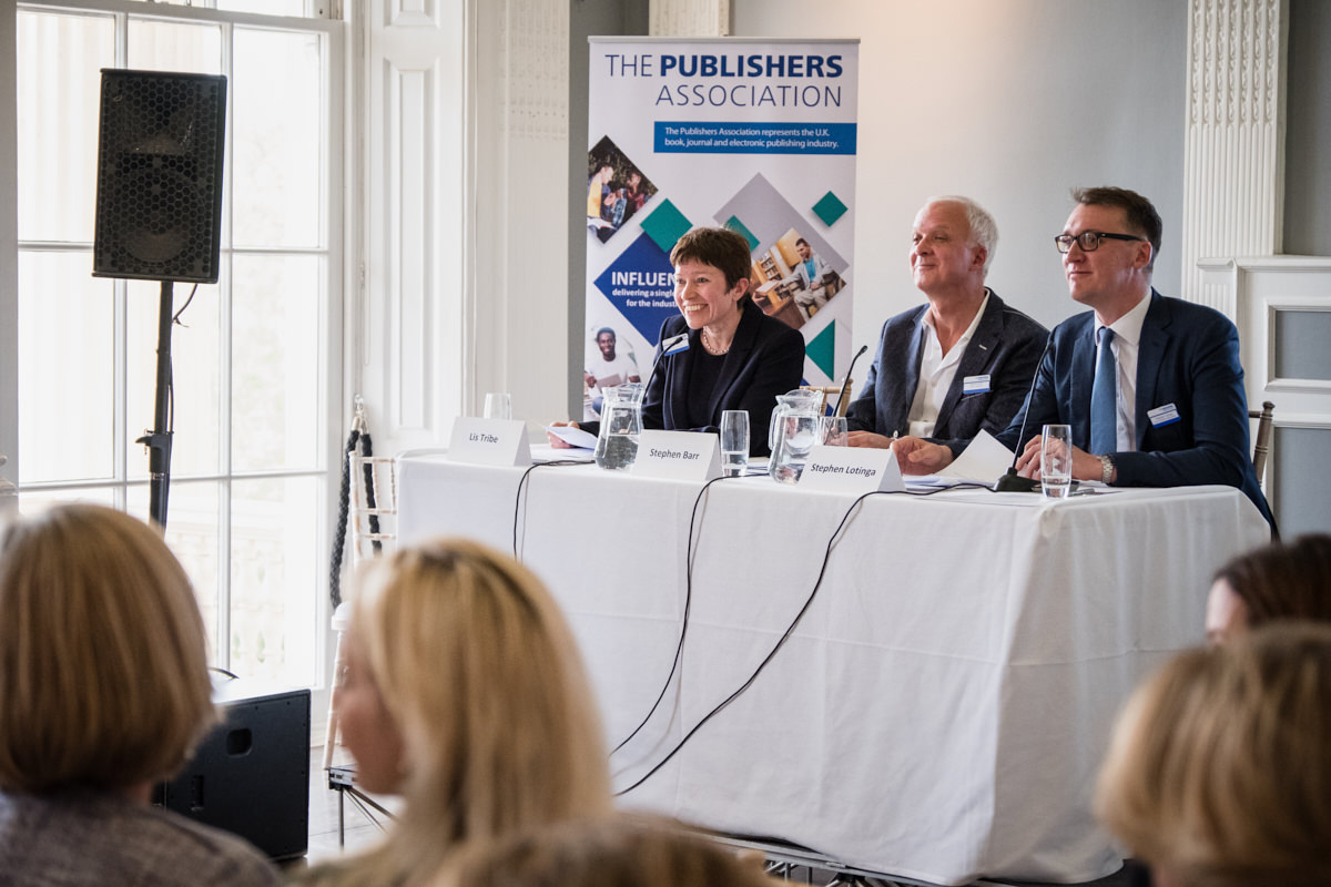 a panel of speakers at a Publishers Association event at The ICA in London