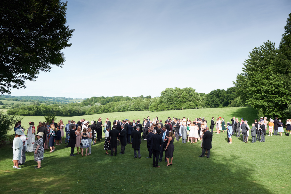 guests at a Sussex marquee wedding