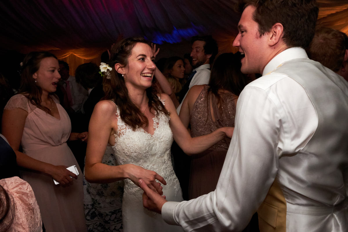 dancing at a marquee wedding in Sussex