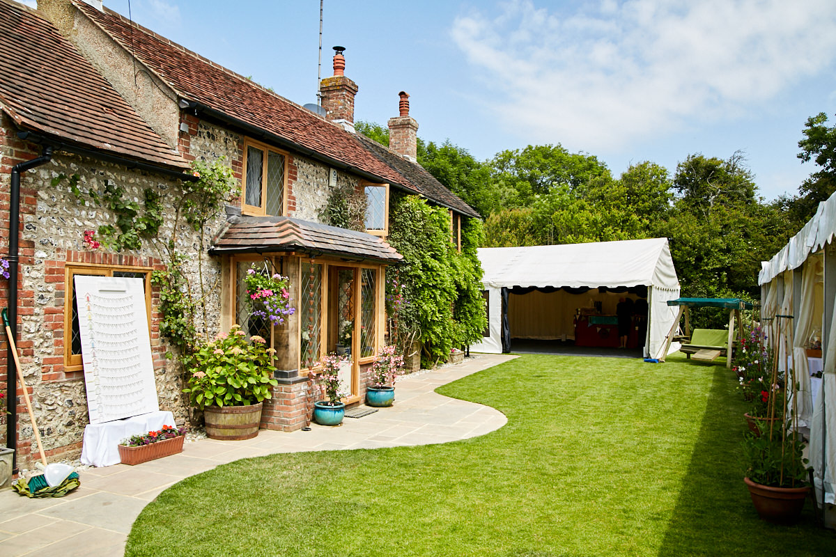 a cottage and marquee for a West Sussex wedding