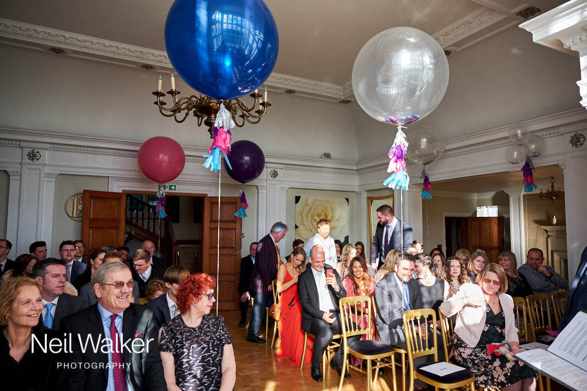 guests sitting waiting for the bride in the Drawing Room at Greyfriars House