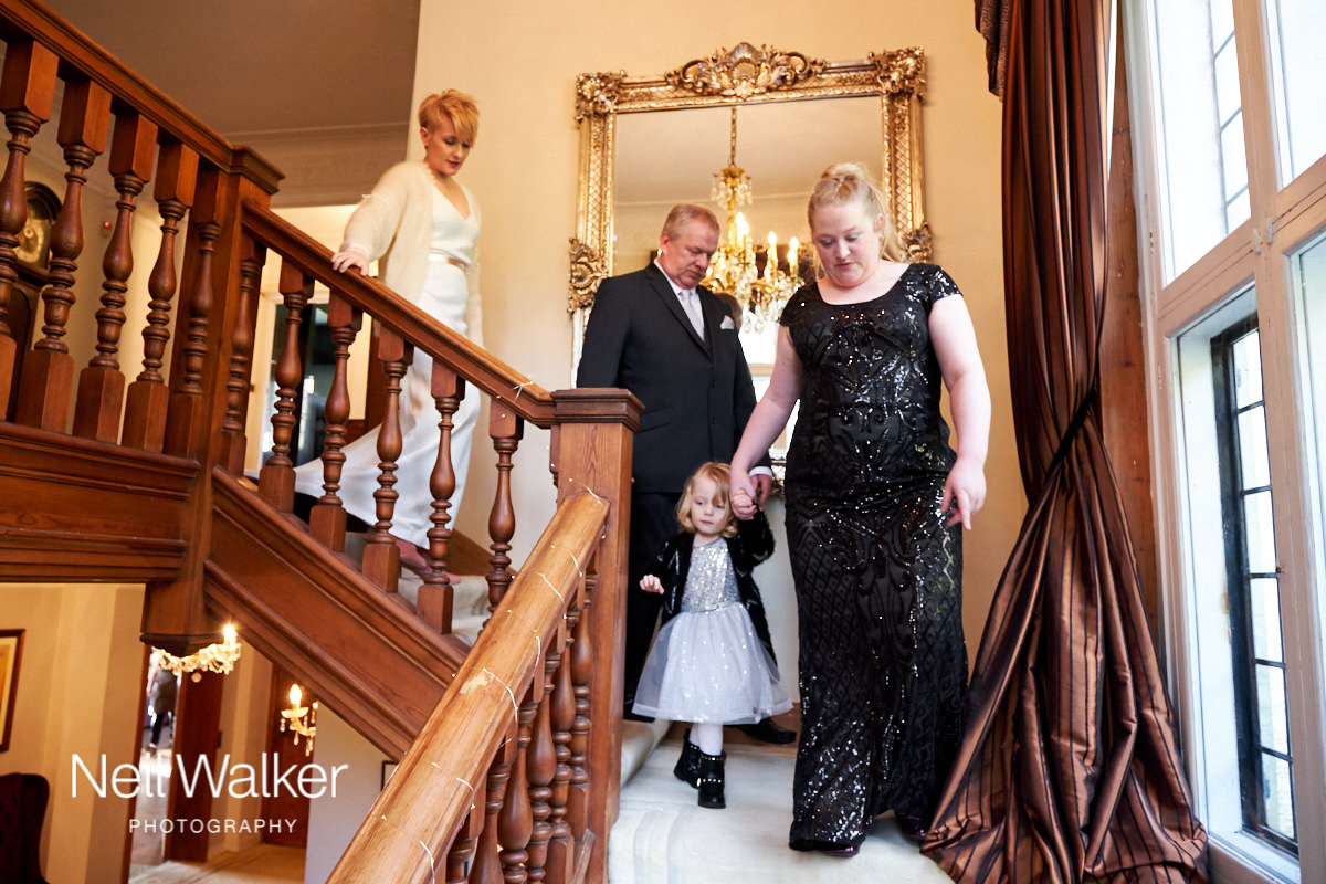 the bride coming downstairs