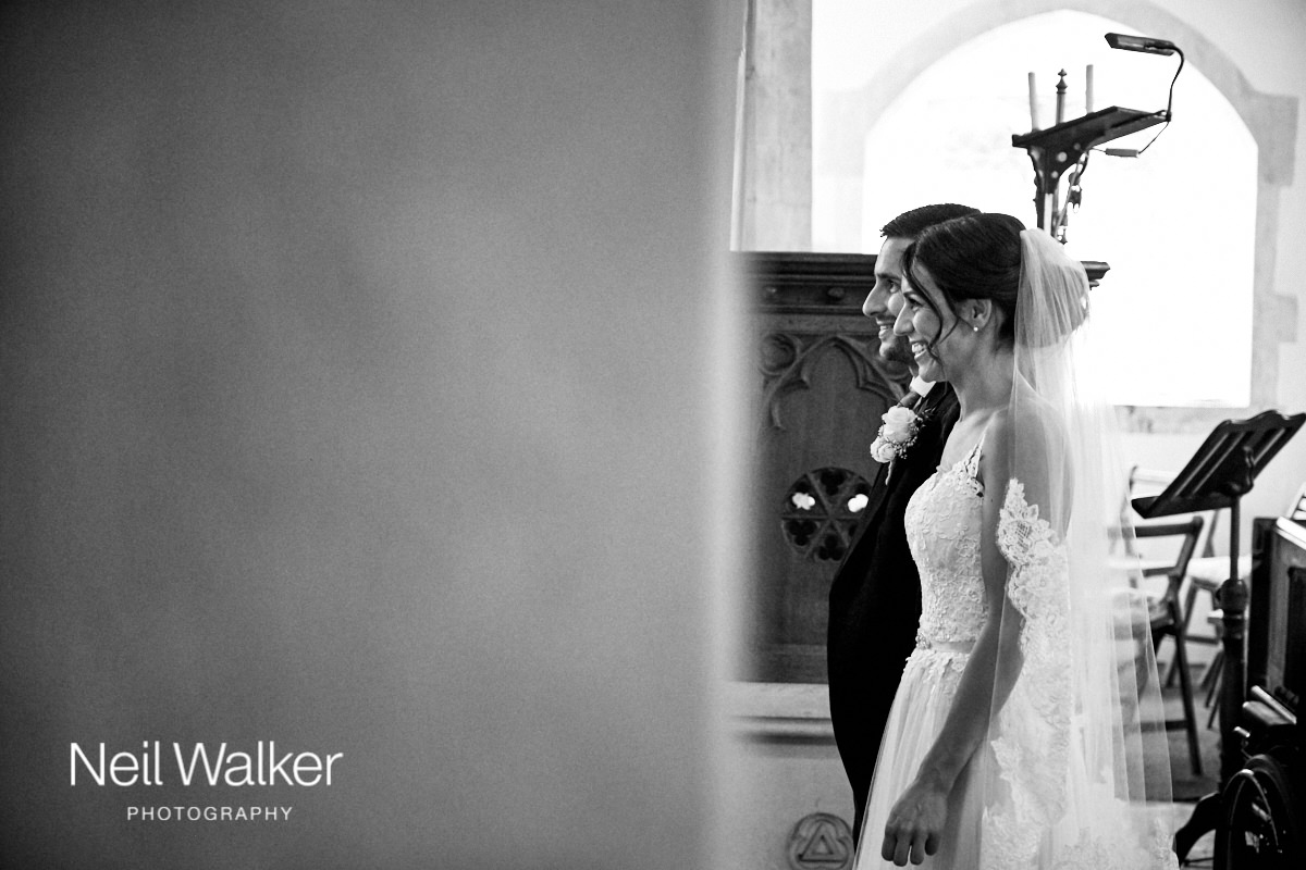 the bride and groom in profile