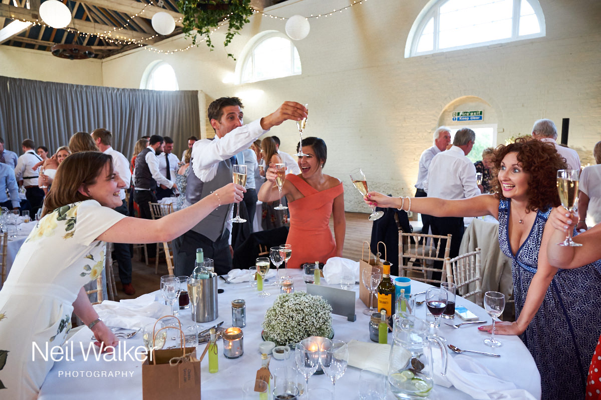 guests raising their glasses during speeches at a Sussex wedding