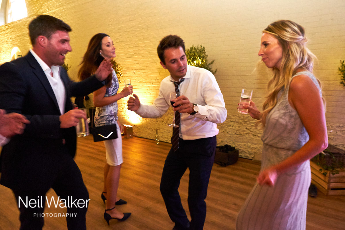 guests on the dance floor at a wedding in Sussex