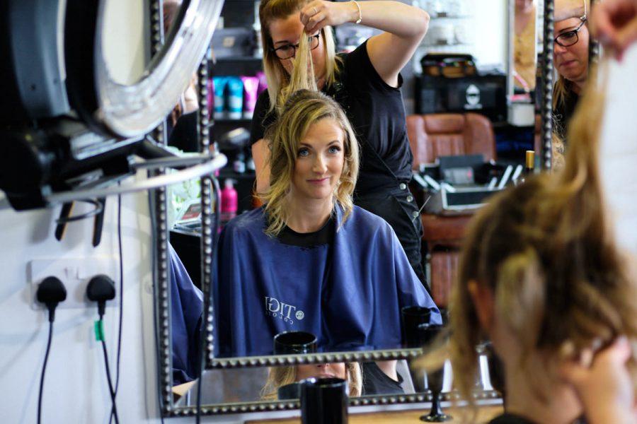Bridal preparations at the hair salon.
