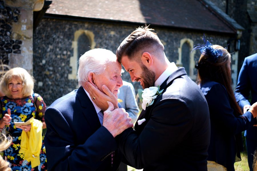 The groom and his grandfather at this Sussex wedding.
