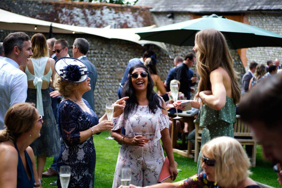 Guests at a wedding at Cissbury Barns.