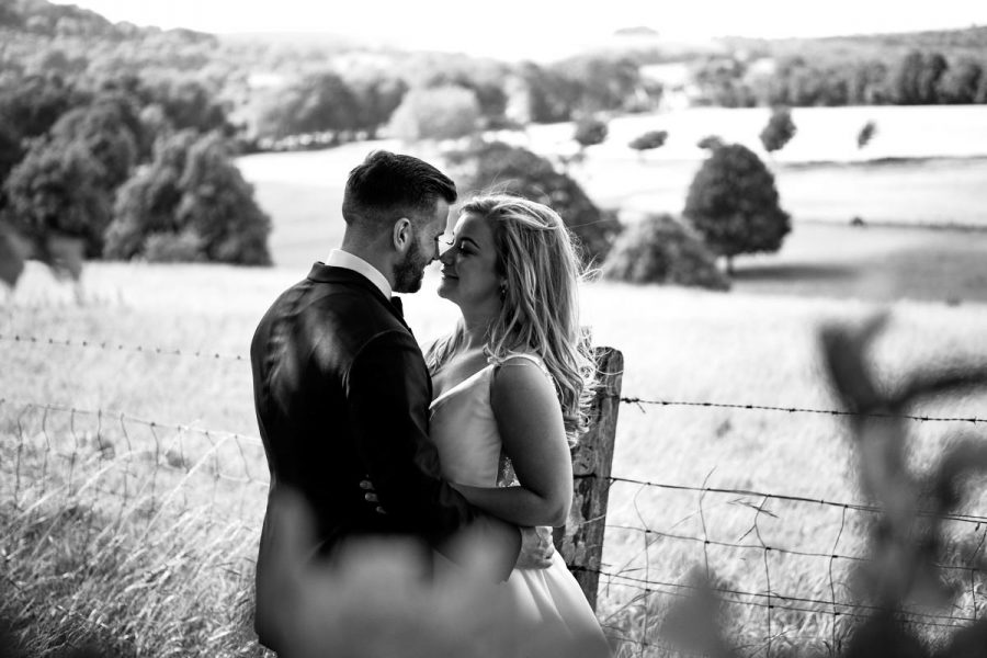 A bride and groom at their Cissbury Barns wedding.