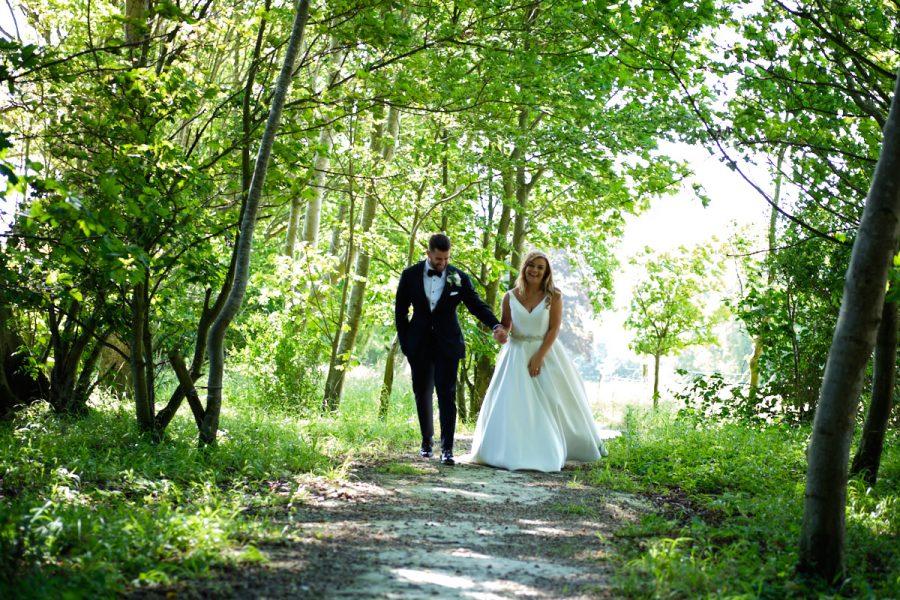 A bride and groom at Cissbury Barns.