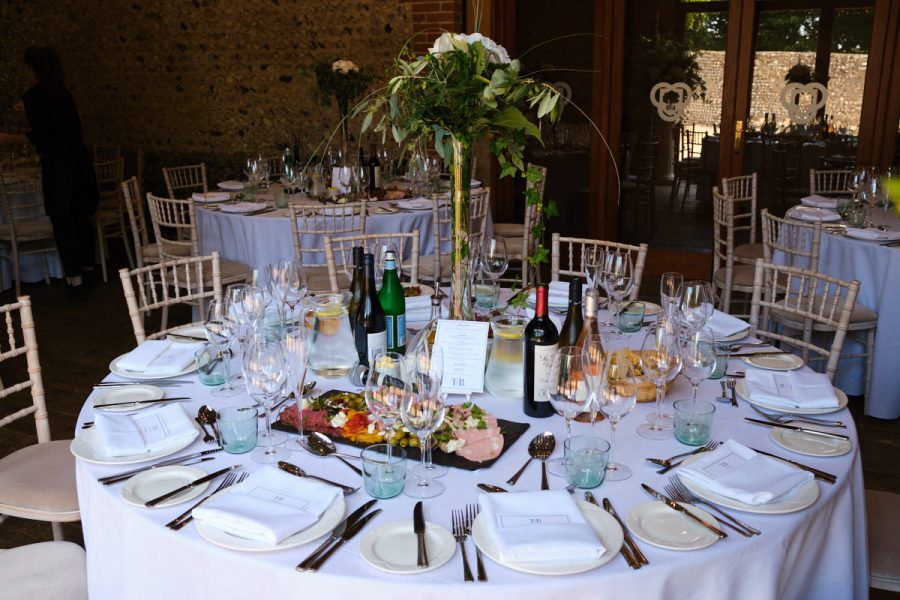 Table displays for a wedding at Cissbury Barns in Sussex.