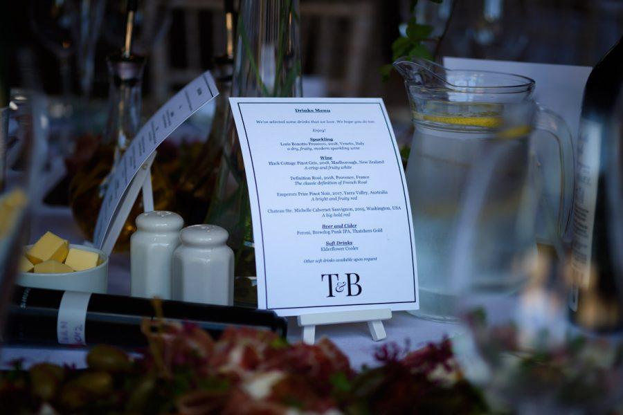 The menu for a wedding at Cissbury Barns.
