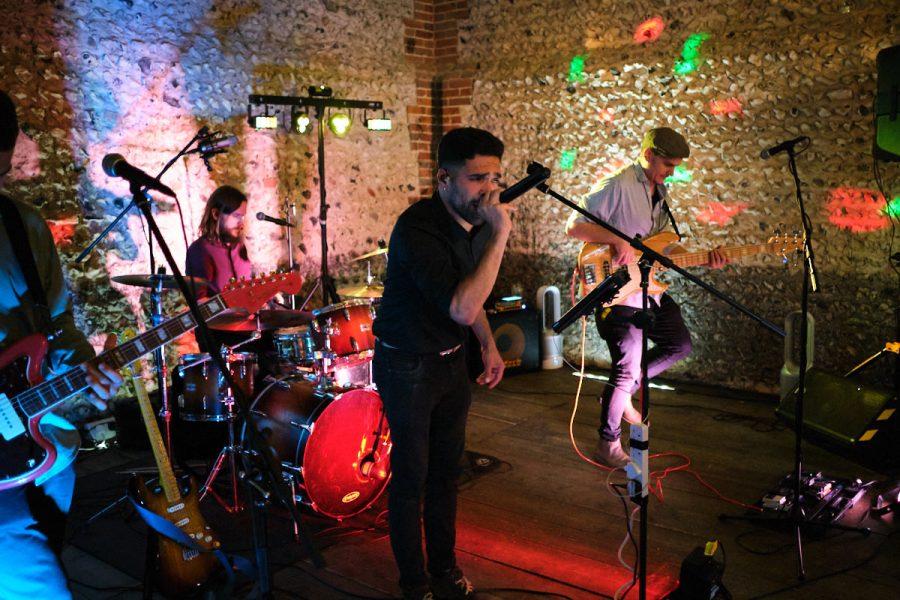 A band playing at a wedding