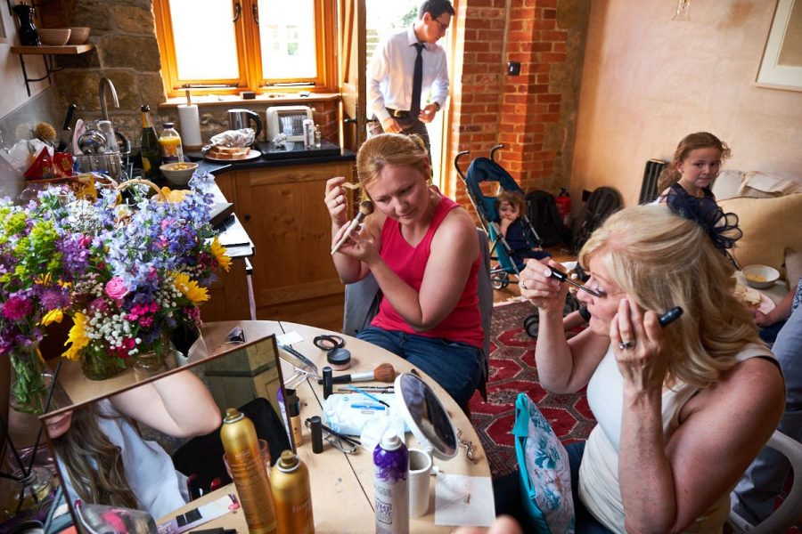 A bride at a Sussex wedding getting ready